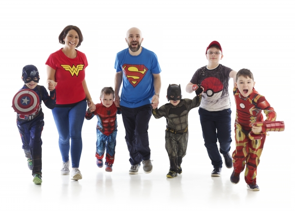 Superheros Fun Family portrait Photographer Tipperary Ireland Ni Riain photography