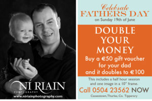 "Double Your Money an amazing offer for €50 your voucher doubles to €100. This will give you a half an hour studio portrait, beautiful image in a 10"" frame."