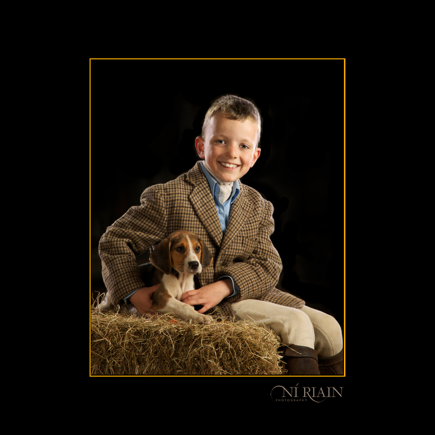 Foxhound puppy and hunt rider - Equine portrait by Ni Riain Phot