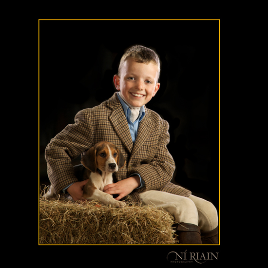 Foxhound puppy with small boy rider going hunting tally ho - Equ